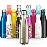 PROWORKS Bottiglia Acqua in Acciaio Inox, Senza BPA Vuoto Isolato Borraccia Termica in Metallo per Bevande Calde per 12 Ore & Fredde 24 Ore, Borraccia per Sport, Lavoro e Palestra - 1 Litre - Oro