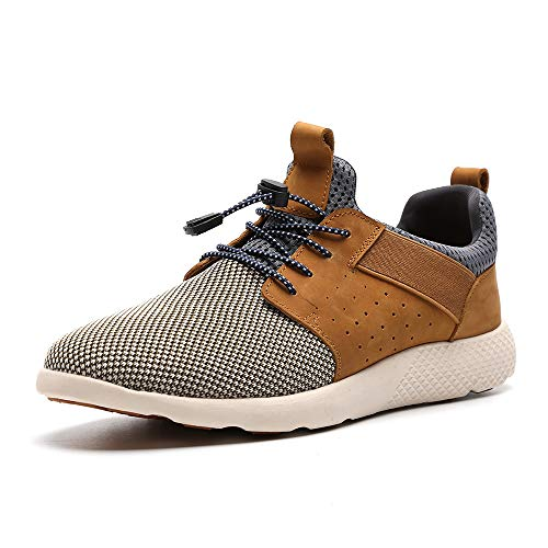 Fitness Trainers Mens Mesh Running Sneaker Athletic Casual Shoes Men's Lightweight Loafers 7036-1-GE Light Brown UK 10.5