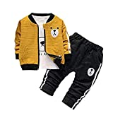 BibiCola Baby Boy Clothes Toddler Infant Outfits for Boys 3 Piece Suit Long Sleeve+Jacket+Pants(Yellow, 24M)