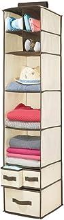 mDesign Organizador de ropa de fibra sintética – 7 compartimentos y 3 cajones – Estantería colgante para el dormitorio – Colgador de armario para ropa, cinturones o bolsos – beige y marrón oscuro