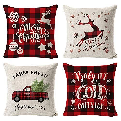 Fodera per cuscino di Natale, 4 pezzi Decorazioni natalizie Fodera per cuscino in lino Buon Natale...