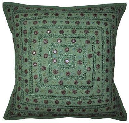 Sophia Art Indian Bordado Hecho a Mano de Trabajo algodón Funda de Almohada, Espejo Funda para cojín, Manta para sofá Boho Chic Bohemio Almohada Decorativa (16x 16) Pulgada (Verde)