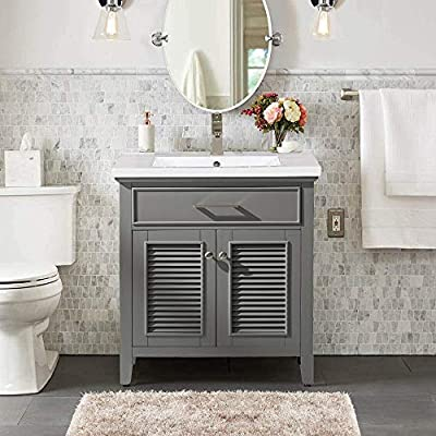 Luca Kitchen & Bath LC30SGP Juliet 30 in. W x 16.5 in. D Single Sink Farmhouse Bathroom Vanity Set in French Gray with White Integrated Porcelain Top