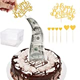 Money Box for Cake,Surprise Money Cake Pull out Kit,Cake ATM Money Box with Happy Birthday Cake Topper Giltter Heart,Food Contact Safe for Wedding Birthday Graduation Party Congratulations