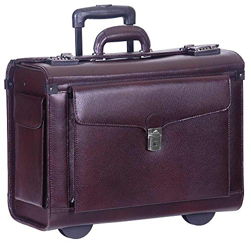 Mancini Deluxe Wheeled Catalog Case, Leather Rolling Business Case in Burgundy