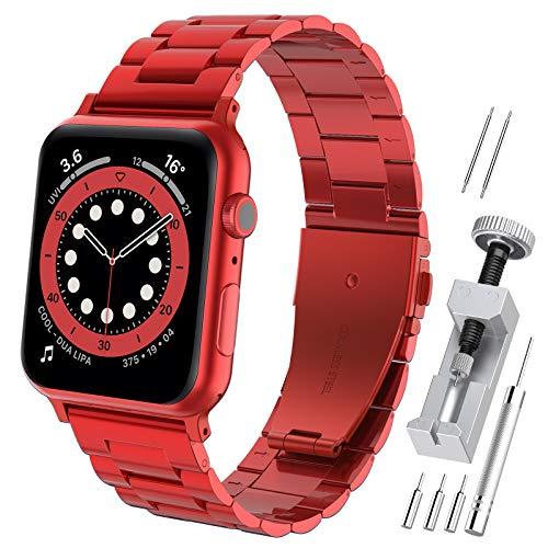 Hianjoo Cinturino Compatibile per Apple Watch 42 mm / 44 mm, Acciaio Inossidabile Braccialetto di Ricambio Cinturini Compatibile per Apple iWatch Series SE/6/5/4/3/2/1 - Rosso