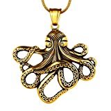 Octopus Necklace Mens 316L Stainless Steel Big Sea Animal Pendant 18K Gold Plated Hip-hop Men Jewelry SP0007K