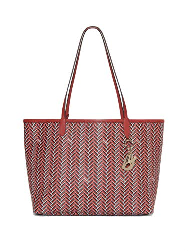 DKNY Women's Gemma Printed Tote Handbag With Pouch (Bright Red)