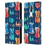 Head Case Designs Licenza Ufficiale Micklyn Le Feuvre Costumi E Occhiali da Sole su Ciano Scuro Pattern Estate Cover in Pelle a Portafoglio Compatibile con Oppo A5 (2020)