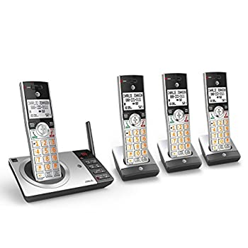 AT&T CL82407 DECT 6.0 4-Handset Cordless Phone for Home with Answering Machine Call Blocking Caller ID Announcer Intercom and Long Range Silver