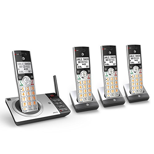 AT&T DECT 6.0 Expandable Cordless Phone with Answering System, Silver/Black with 4 Handsets