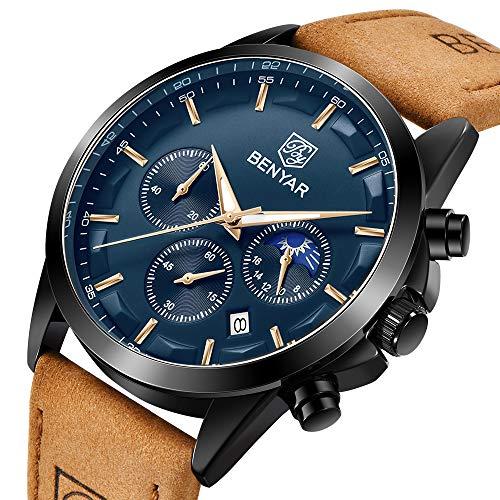 BENYAR – Wrist Watch for Men, Genuine Leather Strap Watches, Quartz Movement, Waterproof Analog Chronograph Watches