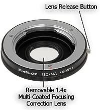 Fotodiox Lens Mount Adapter - Minolta MD, MC, Rokkor Lens to Sony Alpha (aka Minolta AF A-type, Maxxum or Dynax) Camera, fits Sony A100, A200, A230, A290, A300, A330, A350, A380, A390, A450, A500, A550, A560, A580, A700, A850, A900, SLT-A35, A33, A37, A55, A57, A65, A77