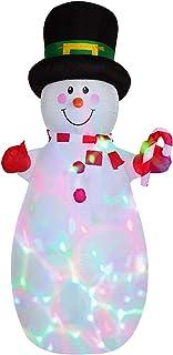 SLDHFE Bonhomme de neige gonflable de Noël - 1,8 m - Bonhomme de neige gonflable avec chapeau lumineux à LED - Modèle gonf...