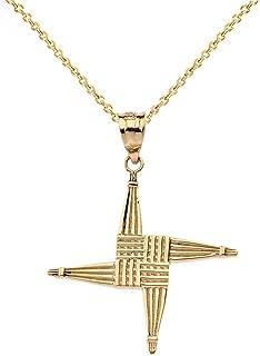 14k Yellow Gold Irish St. Brigid's Christian Wall Cross Pendant Necklace