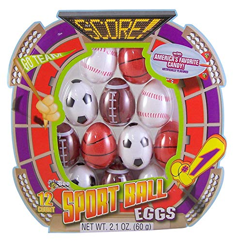 Prefilled Sports Easter Egg Hunt Kit with Smarties and Dubble Bubble Gum, Pack of 12