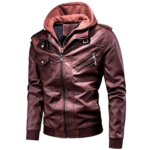 Spring Casual Motor Hooded PU Leather Jackets Coat Men Autumn Outwear Fashion Punk Style Hat Leather Jacket Men-Red_XXXL