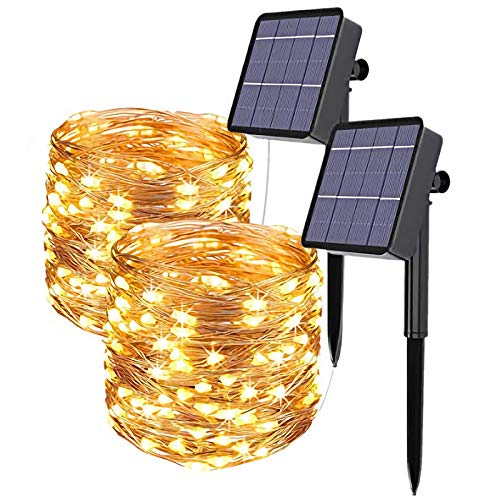 Solar String Lights, 2 Pack 120 LED Solar Fairy Lights 39 Feet 8 Modes Copper Wire Lights Waterproof Outdoor String Lights for Garden Patio Gate Yard Party Wedding Indoor Bedroom Warm White