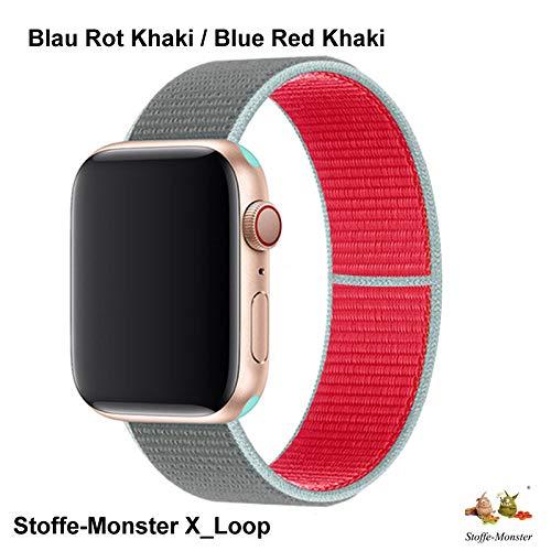 Stoffe-Monster X_Loop Watch Armband Sport Blau Rot Khaki 38mm / 40mm