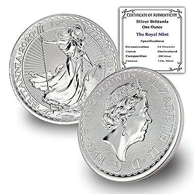 2020 UK 1 oz Silver Britannia Coin Brilliant Uncirculated £2 w/Certificate of Authenticity by CoinFolio 2 GBP BU