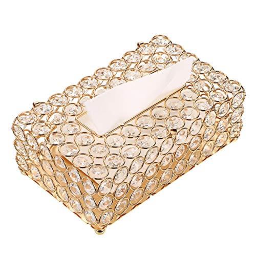 SUMNACON Organizador de pañuelos de cristal para comedor, dormitorio, decoración de aparador (dorado, rectangular)