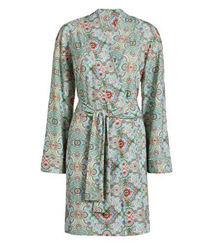 PiP Studio Nisha Kimono Damen Hausmantel Morgenmantel mit romantischem All Over Druck, Grösse:XXL - 44, Farbe:grün