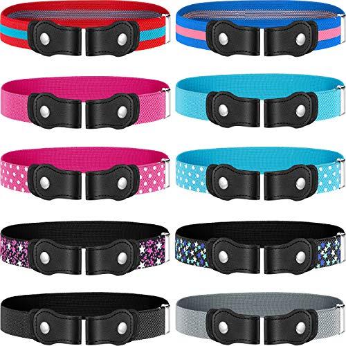 10 Pieces No Buckle Kids Belt Adjustable Elastic Belts Stretch Waistbelt for Boys Girls