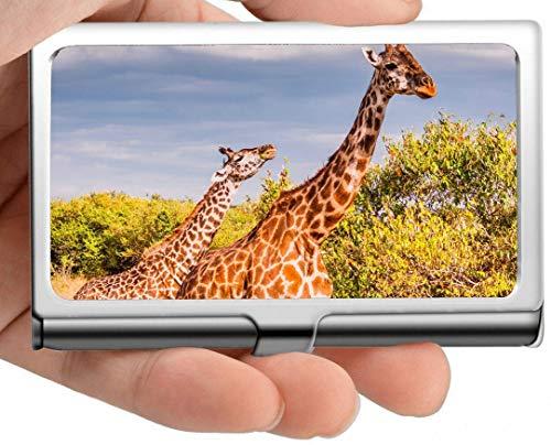 Edelstahl-Kartenhalter, Baby Animal Wildlife Giraffe Kreditkartenetui/Ausweisetui