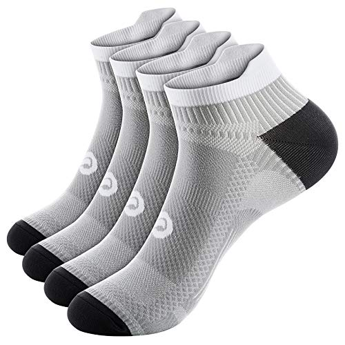 PAPLUS Compression Running Socks for Men & Women, Ankle Socks for Runners, Plantar Fasciitis, Cycling, Athletic, Gym, Low Cut No Show Athletic Socks with Arch Support
