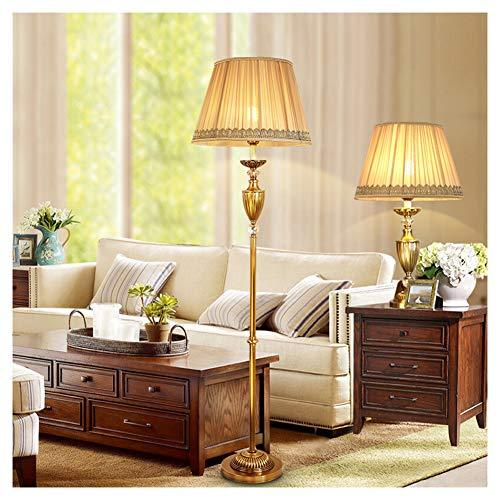 UQY Lámpara de pie, de pie, de pie, de pie, de pie, de estilo europeo, lámpara de mesa de cobre regulable, retro, creativa, mesa B + piso-B