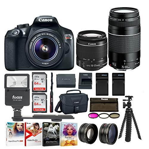 Canon EOS Rebel T6 SLR Camera: 18 Megapixel 1080p HD Video Bundle with 18-55mm & 75-300mm Lenses 128GB 3 Batteries - 2 Travel Chargers and Photo Software - Professional Vlogging Sports & Action Camera