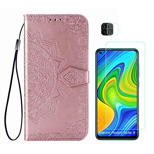 Abuenora Funda para Xiaomi Redmi Note 9 + Protector de Pantalla Cristal Templado + Protector de Cámara Lente, Carcasa Libro con Tapa Flip Case Antigolpes Cartera PU Cuero Mandala Oro Rosa