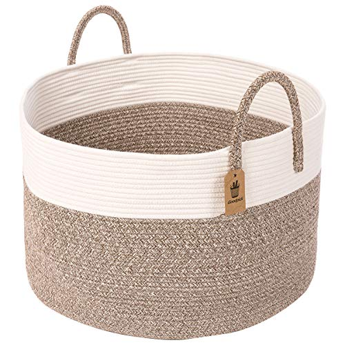 INDRESSME Extra Groß Wäschekorb Geflochten aus Baumwolle Seil Korb mit Henkel Aufbewahrung zur Decken Kissen im Wohnzimmer, D51 x H33 cm