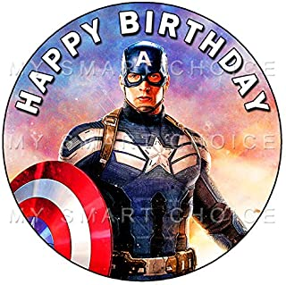 7.5 Inch Edible Cake Toppers – Captain America First Avenger Themed Birthday Party Collection of Edible Cake Decorations