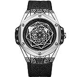 Ruimas - Reloj de pulsera para hombre, cuarzo, militar, resistente al agua, esfera redonda negra con negocios, correa de piel para hombres