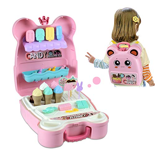 W Q Pretend Play Toys Sets for Kids Ice Cream Toy Candy Carrier Backpack for Girl, Play Kitchen Food Educational Game Birthday 29PCS