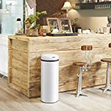 Deuba Sensor Mülleimer 30L Abfalleimer mit LED Funktionsanzeige Automatik Müllbehälter Abfallbehälter Edelstahl Papierkorb mit Bewegungssensor weiß - 6
