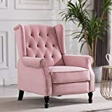 Artechworks Velvet Tufted Push Back Arm Accent Chair Recliner Single Reclining for Adjustable Club Chair Home Padded Seating Living Room Lounge Modern Sofa,Pink
