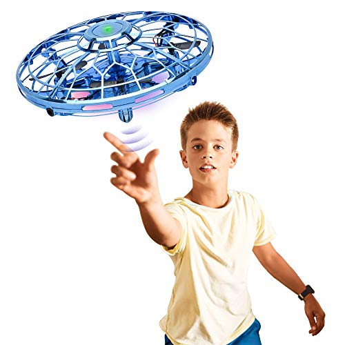 Hand Operated Drones for Kids or Adults, Upgraded Hands Free Mini Helicopter with 360° Rotating and LED Lights, Easy Outdoor Hand Controlled Flying Ball Toys Gift for Boys or Girl