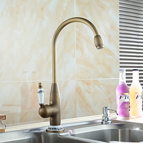 WYVMB Grifo de cocina moderno de acero inoxidable grifo de fregadero de cocina de cobre antiguo europeo grifo de baño lavabo cocina fregadero grifo bajo encimera lavabo retro caliente y frío grifo de agua