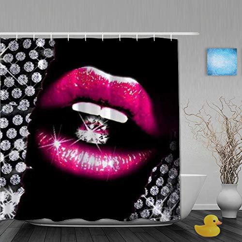 Popsastaresa Duschvorhang,Lips Diamond glänzender, Stoff Badezimmer Dekor Set mit Kunststoffhaken, enthalten - 180x200cm