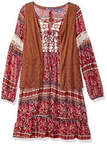 Truly Me Girls' Big Tween Ombre Sequins Yoke Long Sleeve Dress, red/Multi, 10