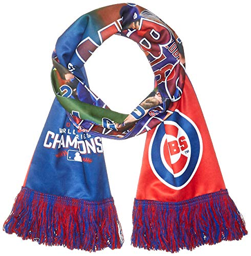 FOCO MLB Chicago Cubs 2016 World Series Champions Printed Photo Scarf, One Size, Blue