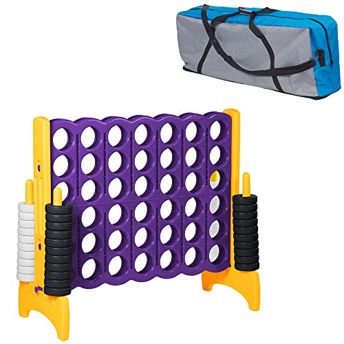 ECR4Kids Jumbo 4toScore Giant Game Set Backyard Games for Kids Indoor/Outdoor ConnectAll4 Adult and Family Fun Game 43 Inches Tall Purple and Gold Game and Carry Bag Included