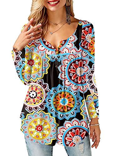Amoretu Damen T-Shirt Langarm Bluse mit Blumenprint Basic Tee Orange L