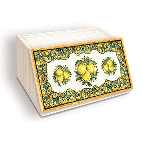 Portapane NEW, Contenitore per Cibo Secco con decoro LEMON, LIMONI DI SICILIA in legno SHABBY 30x40x20 cm