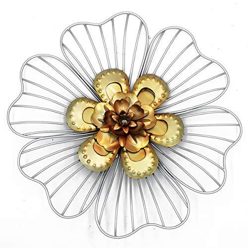 Wanddeko Blume silberfarben