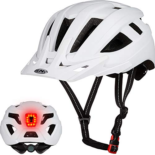 ILM Adult Cycling Bike Helmet with LED Rear Light Lightweight for Men Women Urban Commuter MTB Bicycle (White, L/XL)