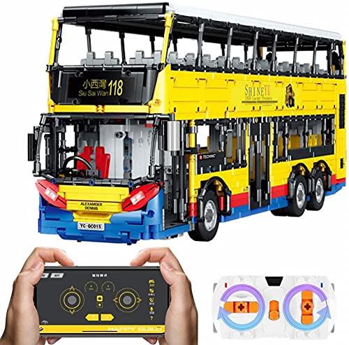 Bus Tecnológico con Motores, Bus Tecnológico Modelo de Bus de Dos Pisos con Control Remoto, Compatible con Tecnología Lego -4255 Partes