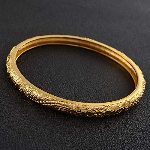 NCDFH Pulsera Brazalete Estilo Dubai árabe Africano de Color Dorado para Mujer, joyería de Moda, NO SE Puede Abrir # J0980 66mm 68mm